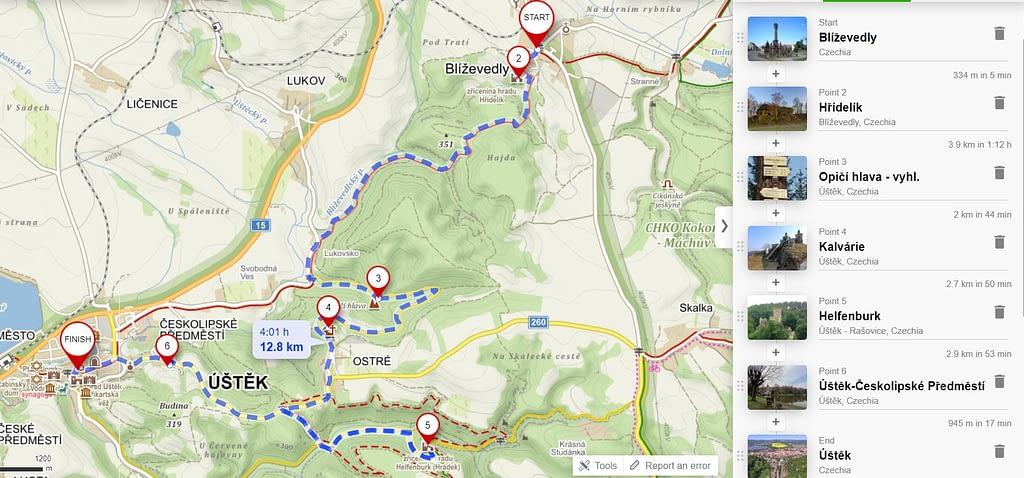 mapa - trasa zimního výletu s přespáváním ve stanu