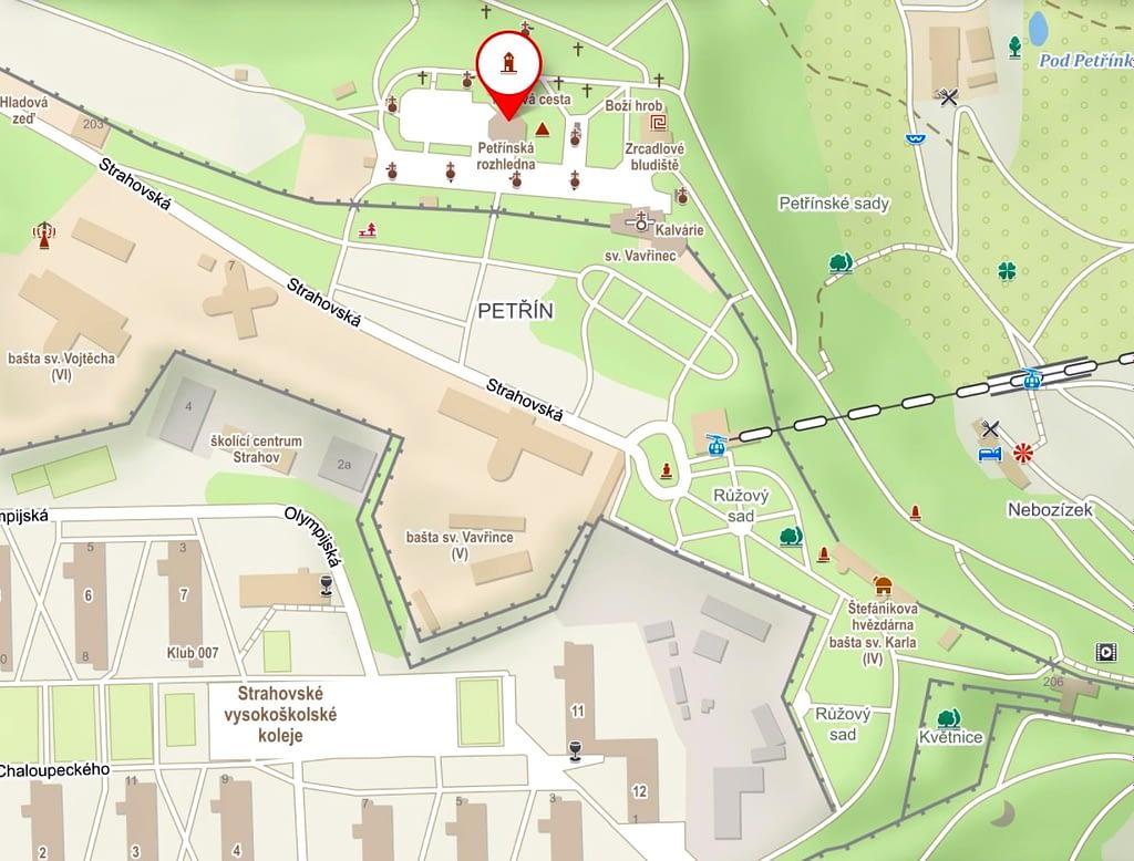 mapa Petřína, Jarní rozkvetlý Petřín nemá chybu